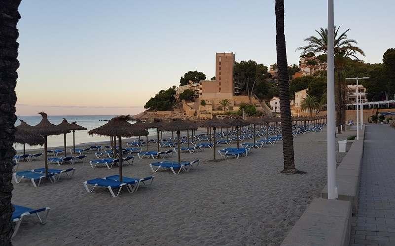 Blick-von-Strandpromenade-auf-Liegen-und-Schirme-am-Palmira-Paguera-Strand