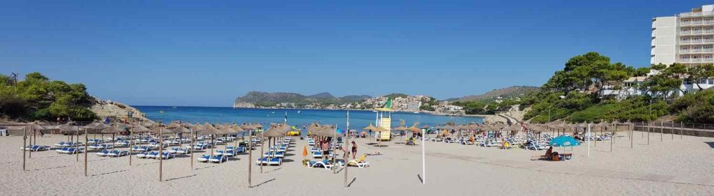 Gesamtansicht-Playa-La-Romana-Paguera-Strand-von-der-Strandpromenade-gesehen