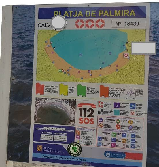 Informationsschild-des-Palmira-Strand-Paguera