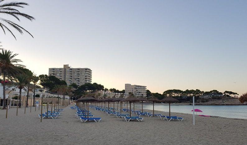 Liegen-und-Schirme-am-Palmira-Strand-Paguera